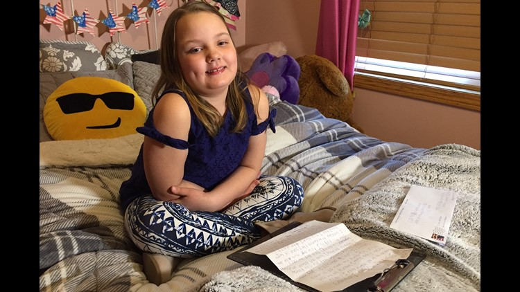 10-year-old Ruby Minder with the letter she sent KARE TV.  (Photo: Boyd Huppert, KARE 11)