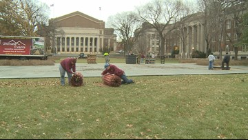 College GameDay setting up stage at Northrop Mall on U of M campus