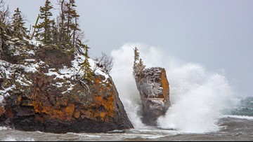 Sea stack at Tettegouche toppled by powerful winter storm