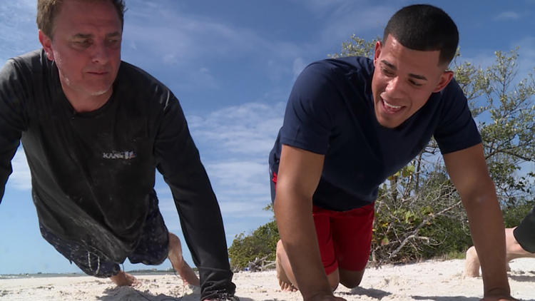 Perk hits the beach for workout with Berrios