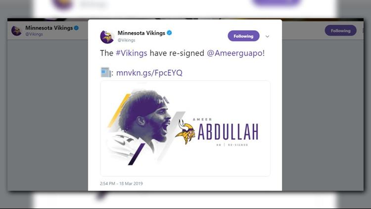 Vikings re-sign RB Ameer Abdullah