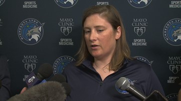 Lindsay Whalen's Jersey hangs in rafters next to 2017 WNBA Championship banner