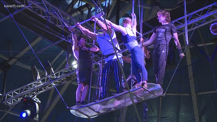 Dave Schwartz tries out the flying trapeze at Circus Juventas