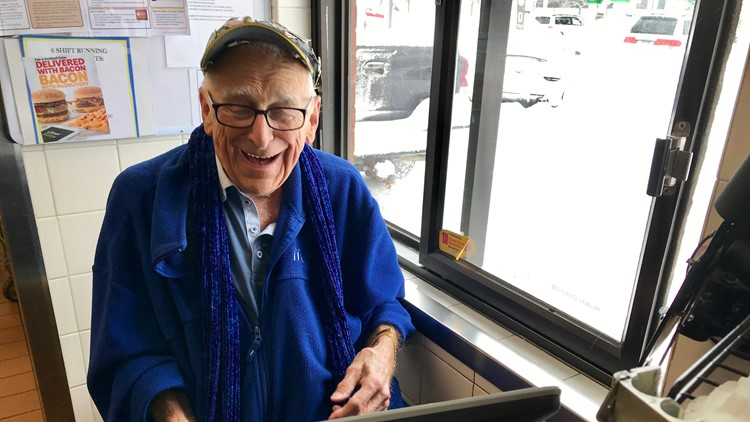 Two months shy of his 89th birthday, Art Mason is still smiling while he works the drive-thru at the Wayzata McDonald's.