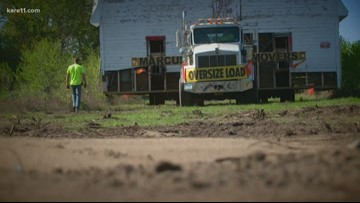 Historic barn in Becker goes on the move