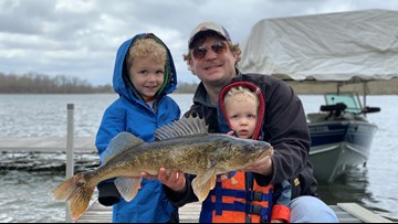 Pint-sized angler reels in huge walleye on toy pole