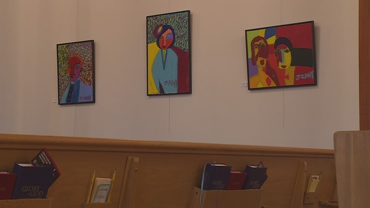 "Paintings by 24-year-old James ""Jimmy"" Reagan. (Photo: Carly Danek, KARE 11)"