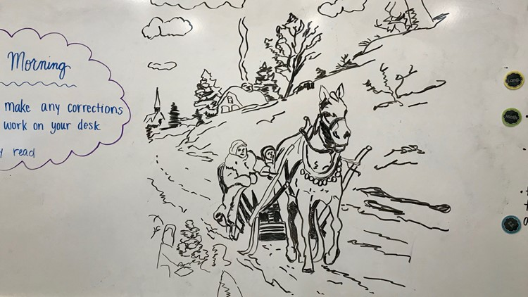 A sleigh ride sketch drawn by Myron Peterson, the janitor at Christian Heritage Academy