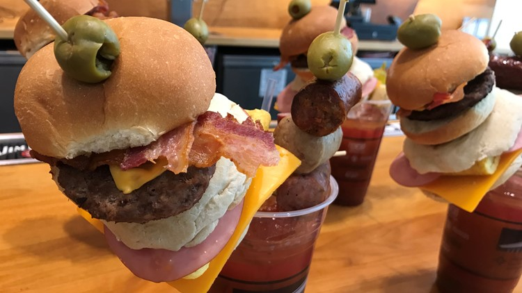 Who needs food when you can opt for Hrbek's Sunday Brunch Bloody? The morning cocktail, with its bacon cheeseburger slider and Kramarczuk's sausage skewer, is only available Sundays.