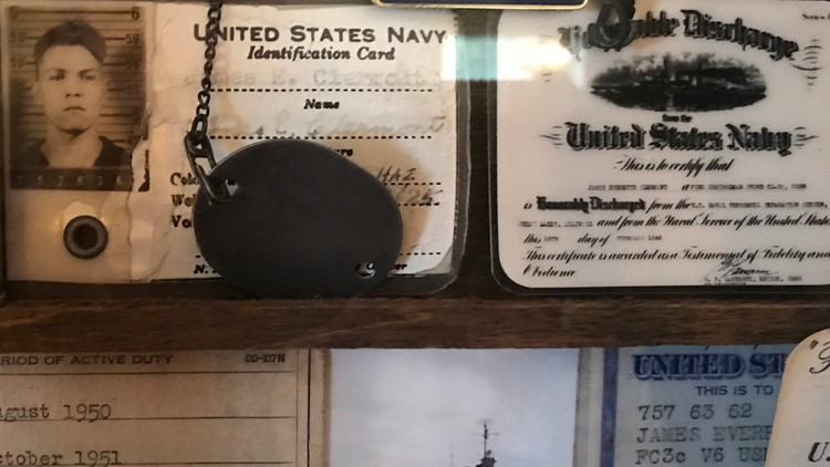 Navy ID and dog tag of WWII veteran Jim Clermont