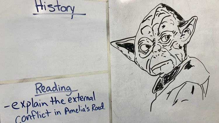 Yoda, one of Myron Peterson's whiteboard drawings