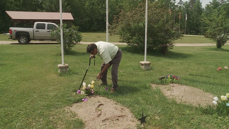 Frank Sherman tending the veterans memorial cemetery. Credit: Gary Knox, KARE 11