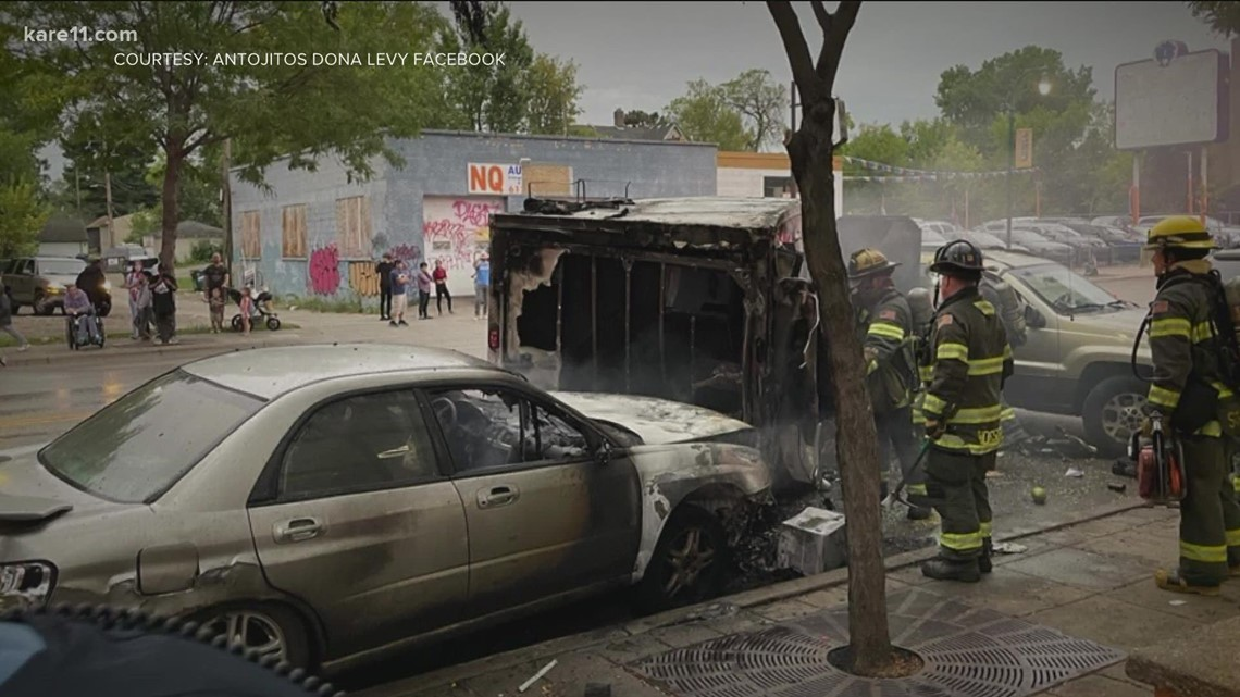 Car crashes into beloved Lake Street food truck, truck destroyed in flames