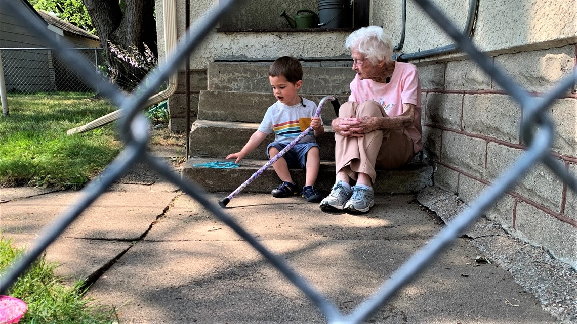 He's 2 years old. She's about to turn 100. They've formed a friendship across a backyard fence