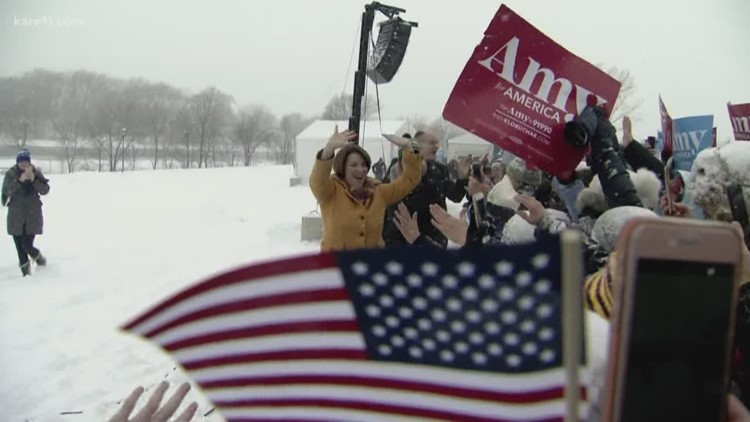 Amy Klobuchar supporters brave winter conditions to hear her announcements