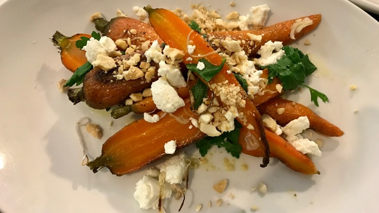 The Cup N' Saucer offers locally sources vegetables, like these baked carrots