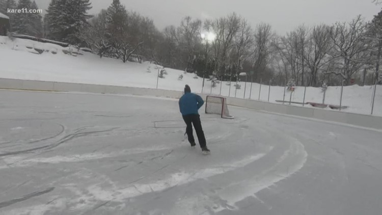 This pond hockey rink is Olympic-sized