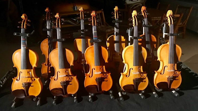 The violins made by Gene Van Alstine for his 10 grandchildren