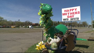 The story behind the dressed-up Sinclair dino in Champlin