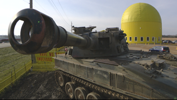 Minnesota's Largest Candy Store puts tank in parking lot to deter thieves