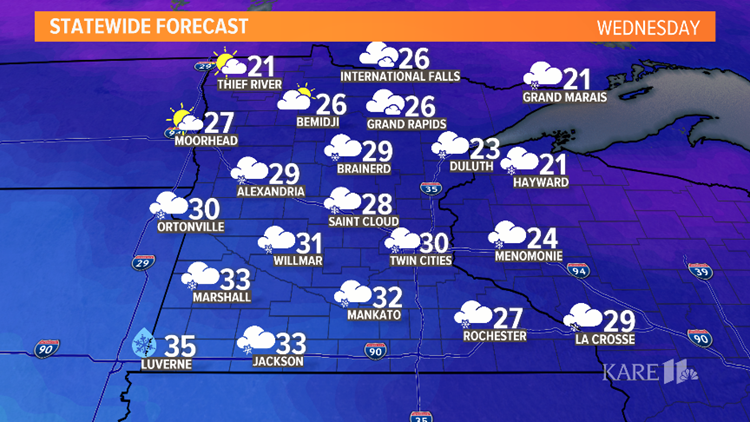 wednesday statewide forecast