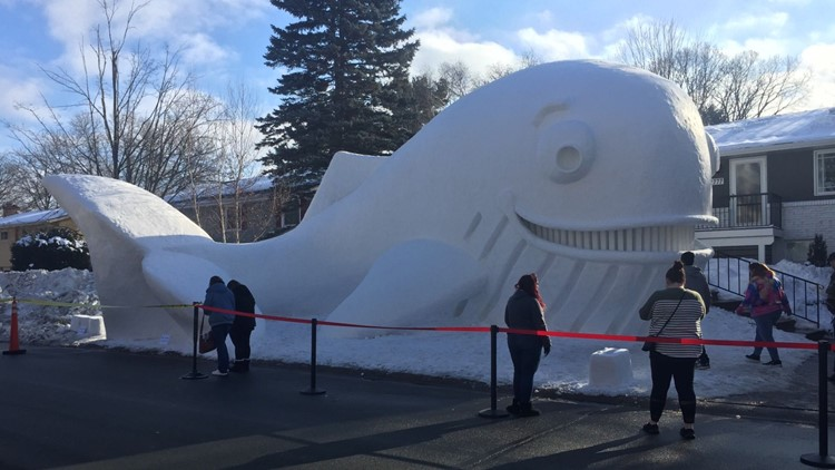 New Brighton brothers build giant whale sculpture made of snow