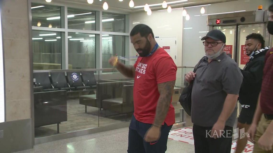 Wrestler Gable Steveson returns to Minnesota after winning gold in Tokyo