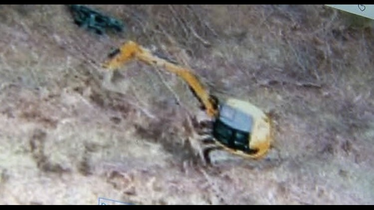 Brower's drone captured this image of a large backhoe already on the property.