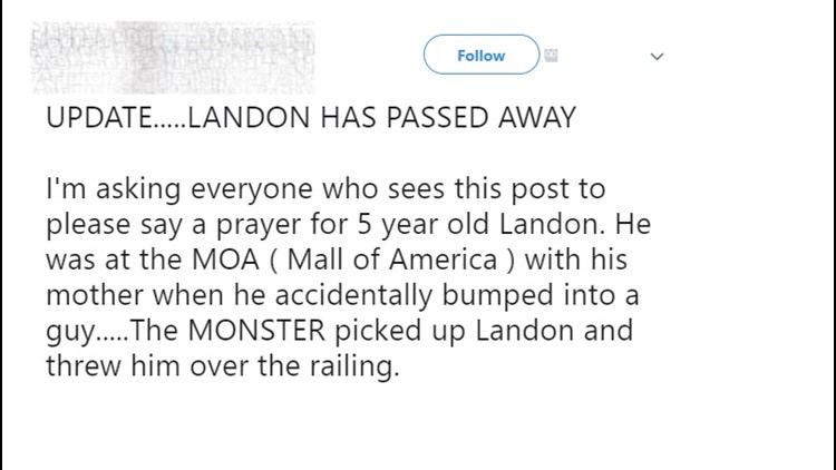 Social post claiming MOA boy has passed away