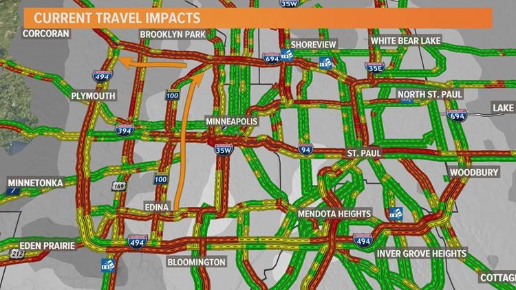 Traffic map reflects slow commute