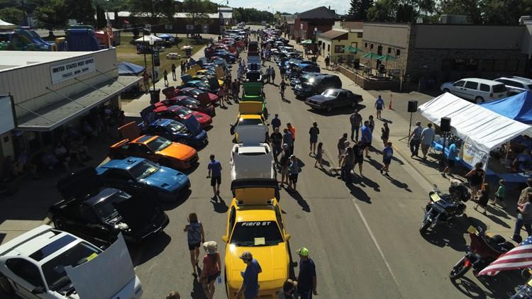 Drone photo of Tyler Shipman Memorial Car Show in Frazee, Minnesota.