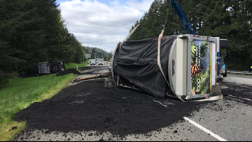 Human waste spilled onto Washington interstate after semi driver falls asleep, WSP says