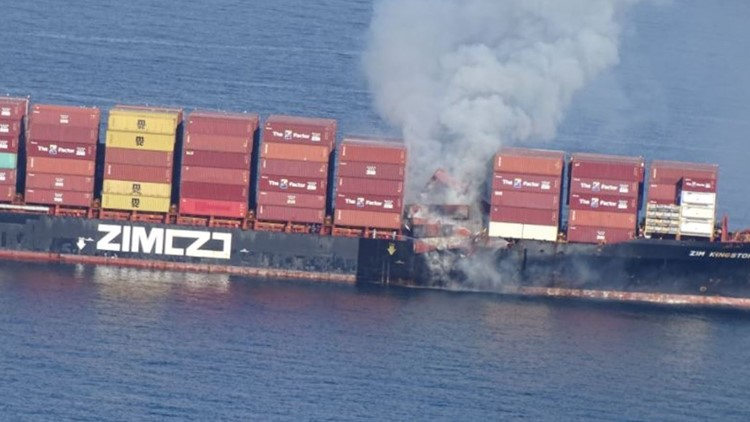 Fire continues to smolder after breaking out on ship that lost 40 containers in Strait of Juan de Fuca