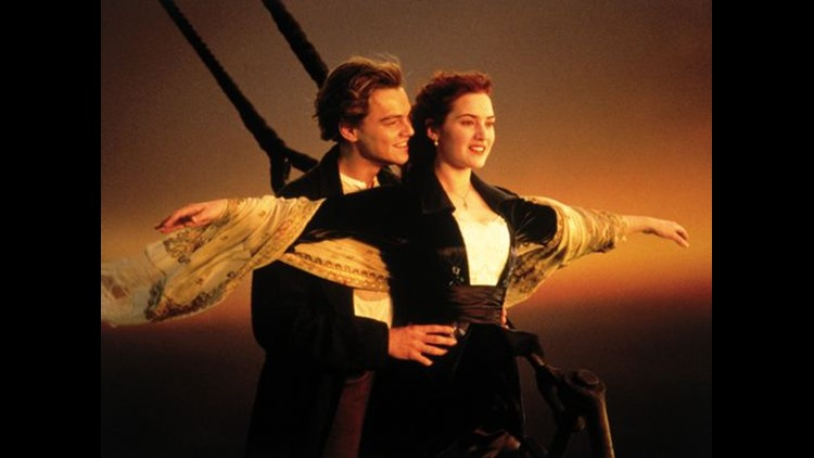"This image released by Paramount Home Entertainment shows Kate Winslet and Leonardo DiCaprio in a scene from, ""Titanic.""   (Photo: AP)"