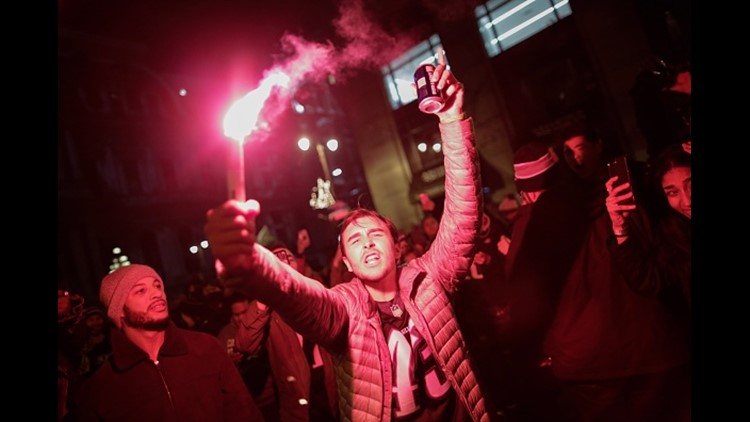 Philadelphia Eagles fans celebrates their victory in Super Bowl LII against the New England Patriots on February 4, 2018 in Philadelphia, Pennsylvania.