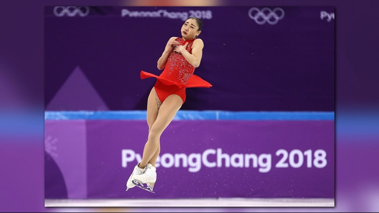 Mirai Nagasu of the United States competes in the Figure Skating Team Event LadiesSingle Free Skating during the PyeongChang 2018 Winter Olympic Games at Gangneung Ice Arena on February 12, 2018.