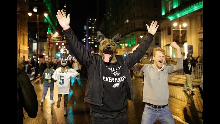 Philadelphia Eagles fans celebrate victory in Super Bowl LII against the New England Patriots on February 4, 2018 in Philadelphia, Pennsylvania.