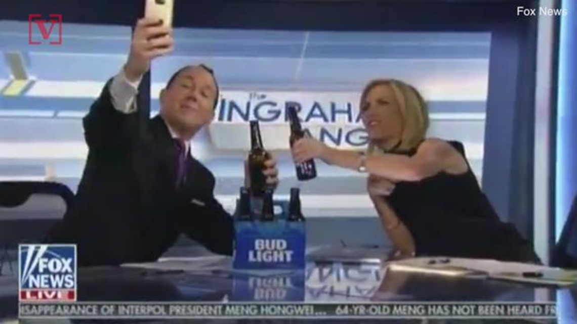Fox News Contributor Jokingly Falls Off Chair With A Beer In Hand During  Selfie With Laura Ingraham