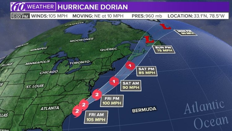 Hurricane Dorian Track 5 p.m. advisory as of 9/5/19