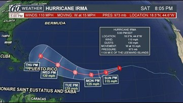 Cat 2 Hurricane Irma approaching Leeward Islands