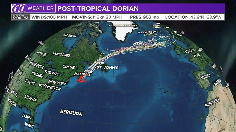Dorian transitions into post-tropical system