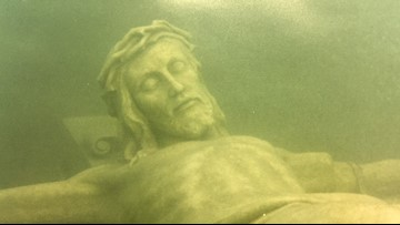 20 feet down in Lake Michigan there is a 12 foot tall statue of Jesus